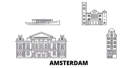 Netherlands, Amsterdam line travel skyline set. Netherlands, Amsterdam outline city vector panorama, illustration, travel sights, landmarks, streets.