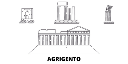 Italy, Agrigento  line travel skyline set. Italy, Agrigento  outline city vector panorama, illustration, travel sights, landmarks, streets.