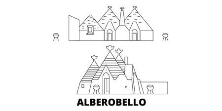 L'Italie, la ligne d'horizon de voyage d'Alberobello. L'Italie, Alberobello contours panorama vectoriel de la ville, illustration, sites touristiques, monuments, rues. Vecteurs