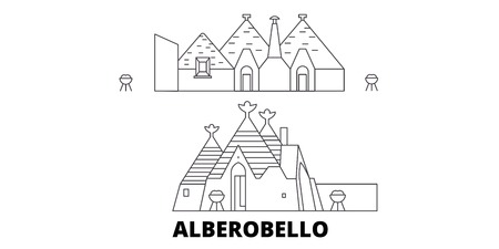 Italy, Alberobello  line travel skyline set. Italy, Alberobello  outline city vector panorama, illustration, travel sights, landmarks, streets. Illustration
