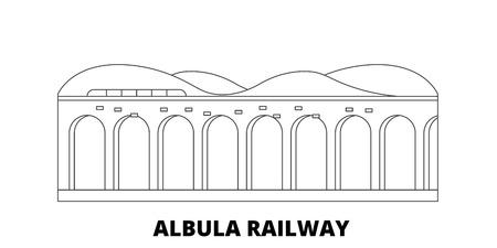 Italy, Albula Railway line travel skyline set. Italy, Albula Railway outline city vector panorama, illustration, travel sights, landmarks, streets.