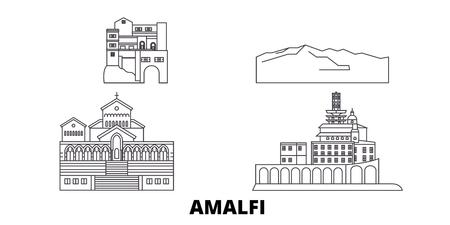 Italien, Amalfi-Linie Reise-Skyline-Set. Italien, Amalfi skizzieren Stadtvektorpanorama, Illustration, Reiseanblicke, Sehenswürdigkeiten, Straßen.