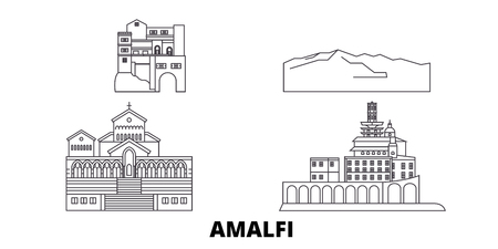 Italy, Amalfi line travel skyline set. Italy, Amalfi outline city vector panorama, illustration, travel sights, landmarks, streets. Banque d'images - 120650858