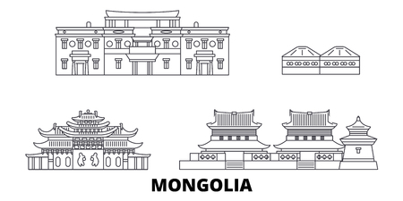 Mongolia line travel skyline set. Mongolia outline city vector panorama, illustration, travel sights, landmarks, streets.  イラスト・ベクター素材