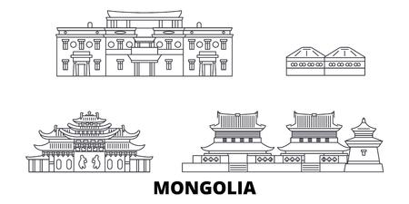 Mongolia line travel skyline set. Mongolia outline city vector panorama, illustration, travel sights, landmarks, streets. Illustration