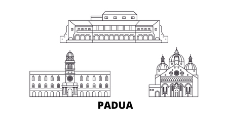 Italy, Padua line travel skyline set. Italy, Padua outline city vector panorama, illustration, travel sights, landmarks, streets. Imagens - 123962790