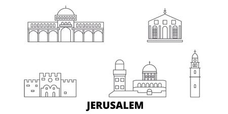 Israël, Jeruzalem lijn reizen skyline set. Israël, Jeruzalem overzicht stad vector panorama, illustratie, reizen bezienswaardigheden, monumenten, straten.