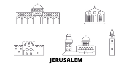 Israel, Jerusalem line travel skyline set. Israel, Jerusalem outline city vector panorama, illustration, travel sights, landmarks, streets.