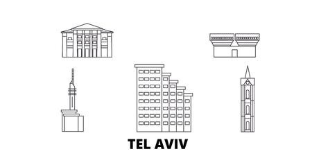 Istael, Tel Aviv line travel skyline set. Istael, Tel Aviv outline city vector panorama, illustration, travel sights, landmarks, streets.