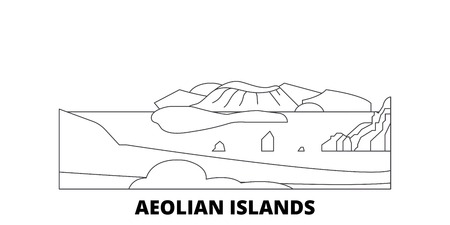 Italy, Aeolian Islands line travel skyline set. Italy, Aeolian Islands outline city vector panorama, illustration, travel sights, landmarks, streets. 写真素材 - 123962791