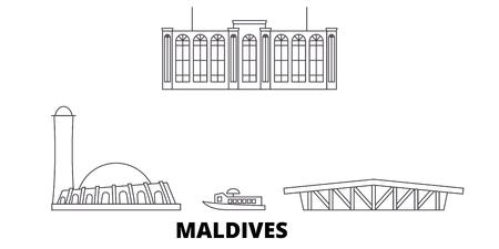 Maldives line travel skyline set. Maldives outline city vector panorama, illustration, travel sights, landmarks, streets.