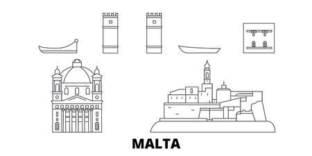 Malta line travel skyline set. Malta outline city vector panorama, illustration, travel sights, landmarks, streets. Иллюстрация