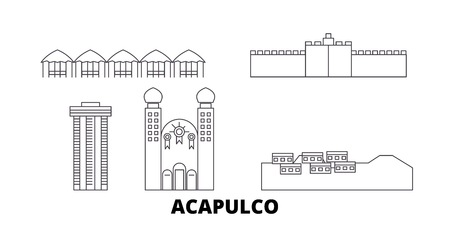 Mexico, Acapulco line travel skyline set. Mexico, Acapulco outline city vector panorama, illustration, travel sights, landmarks, streets.