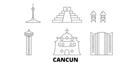 Mexico, Cancun line travel skyline set. Mexico, Cancun outline city vector panorama, illustration, travel sights, landmarks, streets.
