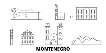 Montenegro line travel skyline set. Montenegro outline city vector panorama, illustration, travel sights, landmarks, streets.  イラスト・ベクター素材