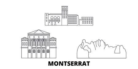 Montserrat line travel skyline set. Montserrat outline city vector panorama, illustration, travel sights, landmarks, streets.