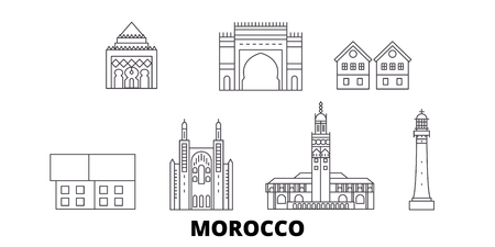 Morocco line travel skyline set. Morocco outline city vector panorama, illustration, travel sights, landmarks, streets. Illustration