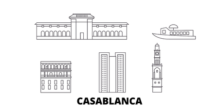 Morocco, Casablanca line travel skyline set. Morocco, Casablanca outline city vector panorama, illustration, travel sights, landmarks, streets.