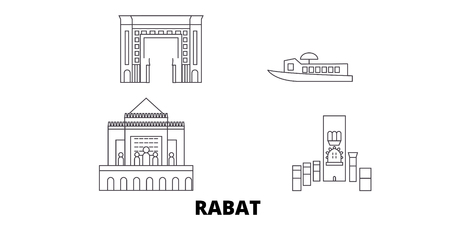 Morocco, Rabat line travel skyline set. Morocco, Rabat outline city vector panorama, illustration, travel sights, landmarks, streets. Ilustração