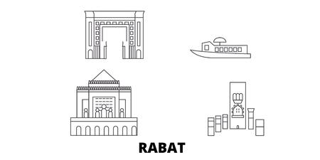 Morocco, Rabat line travel skyline set. Morocco, Rabat outline city vector panorama, illustration, travel sights, landmarks, streets. Illustration