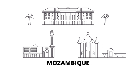 Mozambique line travel skyline set. Mozambique outline city vector panorama, illustration, travel sights, landmarks, streets.