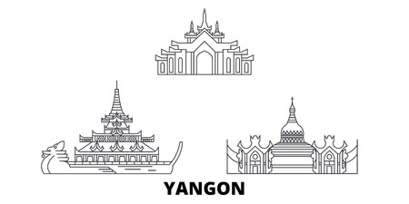 Myanmar, Yangon line travel skyline set. Myanmar, Yangon outline city vector panorama, illustration, travel sights, landmarks, streets.
