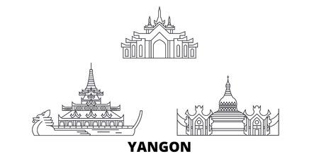 Myanmar, Yangon line travel skyline set. Myanmar, Yangon outline city vector panorama, illustration, travel sights, landmarks, streets.