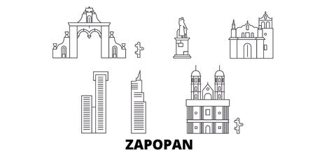 Mexico, Zapopan line travel skyline set. Mexico, Zapopan outline city vector panorama, illustration, travel sights, landmarks, streets.