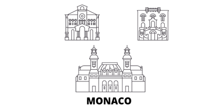 Monaco line travel skyline set. Monaco outline city vector panorama, illustration, travel sights, landmarks, streets.