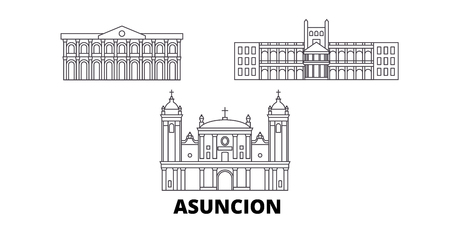 Paraguay, Asuncion line travel skyline set. Paraguay, Asuncion outline city vector panorama, illustration, travel sights, landmarks, streets.