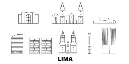 Pérou, Lima ligne voyage skyline set. Pérou, Lima contour vectoriel de la ville panorama, illustration, sites touristiques, monuments, rues.