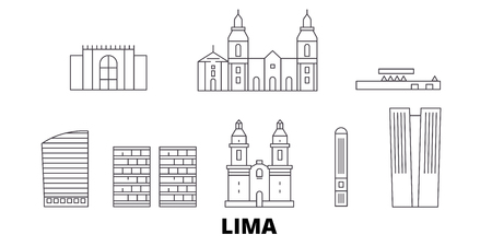 Peru, Lima line travel skyline set. Peru, Lima outline city vector panorama, illustration, travel sights, landmarks, streets.