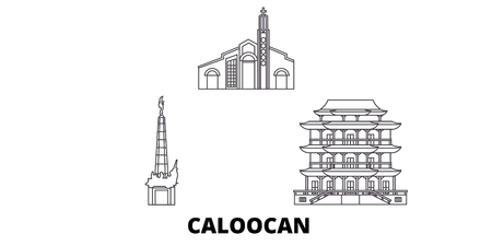 Philippines, Caloocan line travel skyline set. Philippines, Caloocan outline city vector panorama, illustration, travel sights, landmarks, streets.