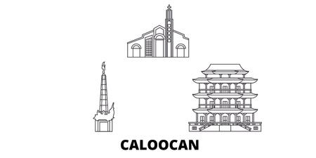 Philippines, Caloocan line travel skyline set. Philippines, Caloocan outline city vector panorama, illustration, travel sights, landmarks, streets.