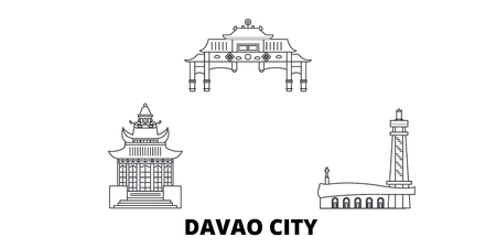 Philippines, Davao City line travel skyline set. Philippines, Davao City outline city vector panorama, illustration, travel sights, landmarks, streets. Ilustração
