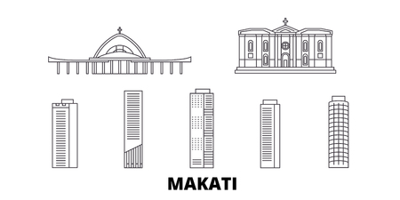 Philippines, Makati line travel skyline set. Philippines, Makati outline city vector panorama, illustration, travel sights, landmarks, streets.