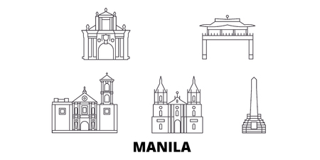 Philippines, Manila line travel skyline set. Philippines, Manila outline city vector panorama, illustration, travel sights, landmarks, streets.