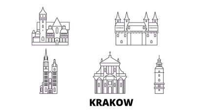 Poland, Krakow line travel skyline set. Poland, Krakow outline city vector panorama, illustration, travel sights, landmarks, streets.