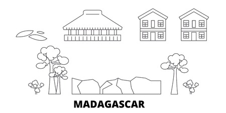 Madagascar line travel skyline set. Madagascar outline city vector panorama, illustration, travel sights, landmarks, streets.