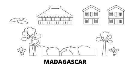 Madagascar line travel skyline set. Madagascar outline city vector panorama, illustration, travel sights, landmarks, streets. Imagens - 123962797