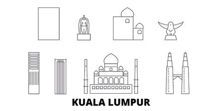 Malaisie, ligne d'horizon de voyage de Kuala Lumpur. Malaisie, panorama de vecteur de ville de contour de Kuala Lumpur, illustration, vues de voyage, points de repère, rues.