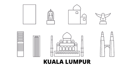 Malaysia, Kuala Lumpur line travel skyline set. Malaysia, Kuala Lumpur outline city vector panorama, illustration, travel sights, landmarks, streets. Stock Illustratie