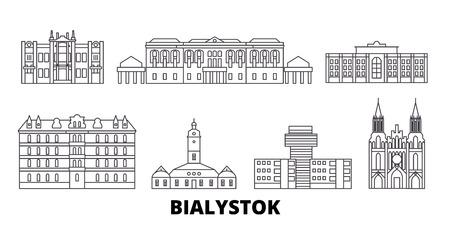 Poland, Bialystok line travel skyline set. Poland, Bialystok outline city vector panorama, illustration, travel sights, landmarks, streets.
