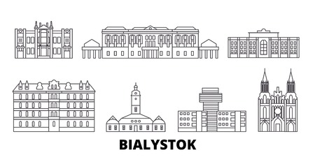 Poland, Bialystok line travel skyline set. Poland, Bialystok outline city vector panorama, illustration, travel sights, landmarks, streets.