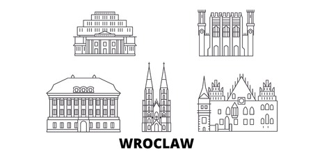 Poland, Wroclaw line travel skyline set. Poland, Wroclaw outline city vector panorama, illustration, travel sights, landmarks, streets.