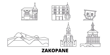 Poland, Zakopane line travel skyline set. Poland, Zakopane outline city vector panorama, illustration, travel sights, landmarks, streets.