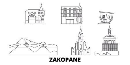 Poland, Zakopane line travel skyline set. Poland, Zakopane outline city vector panorama, illustration, travel sights, landmarks, streets.