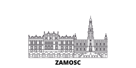 Poland, Zamosc line travel skyline set. Poland, Zamosc outline city vector panorama, illustration, travel sights, landmarks, streets. Stock Vector - 120651615