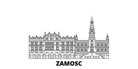 Poland, Zamosc line travel skyline set. Poland, Zamosc outline city vector panorama, illustration, travel sights, landmarks, streets. Illustration