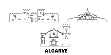 Portugal, Algarve line travel skyline set. Portugal, Algarve outline city vector panorama, illustration, travel sights, landmarks, streets. 矢量图像